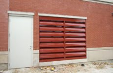 red acoustical louver in wall