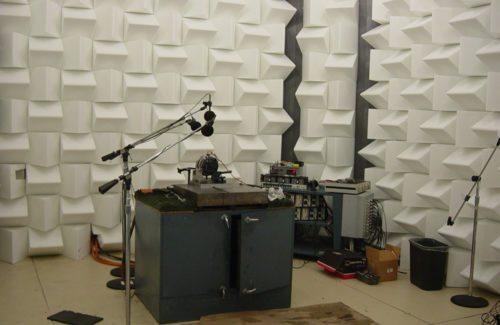 white paneled sound test room