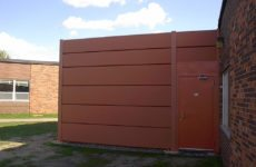 red sound fence panels