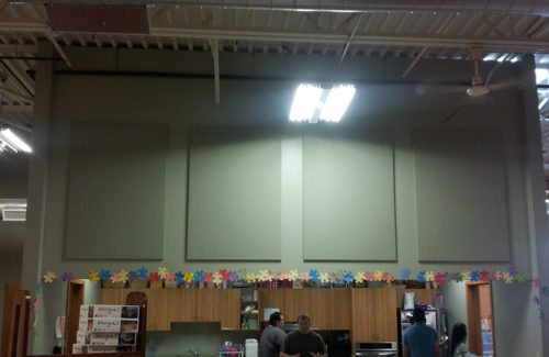 sound reduction panels in cafeteria