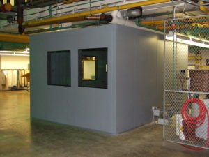 grey soundproof enclosure