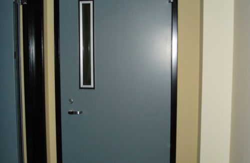 a blue commercial door