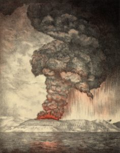 old lithography print of Krakotoa volcano